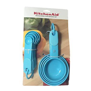 KitchenAid Turquoise Blue Measuring Cups and Spoons with soft grip handles