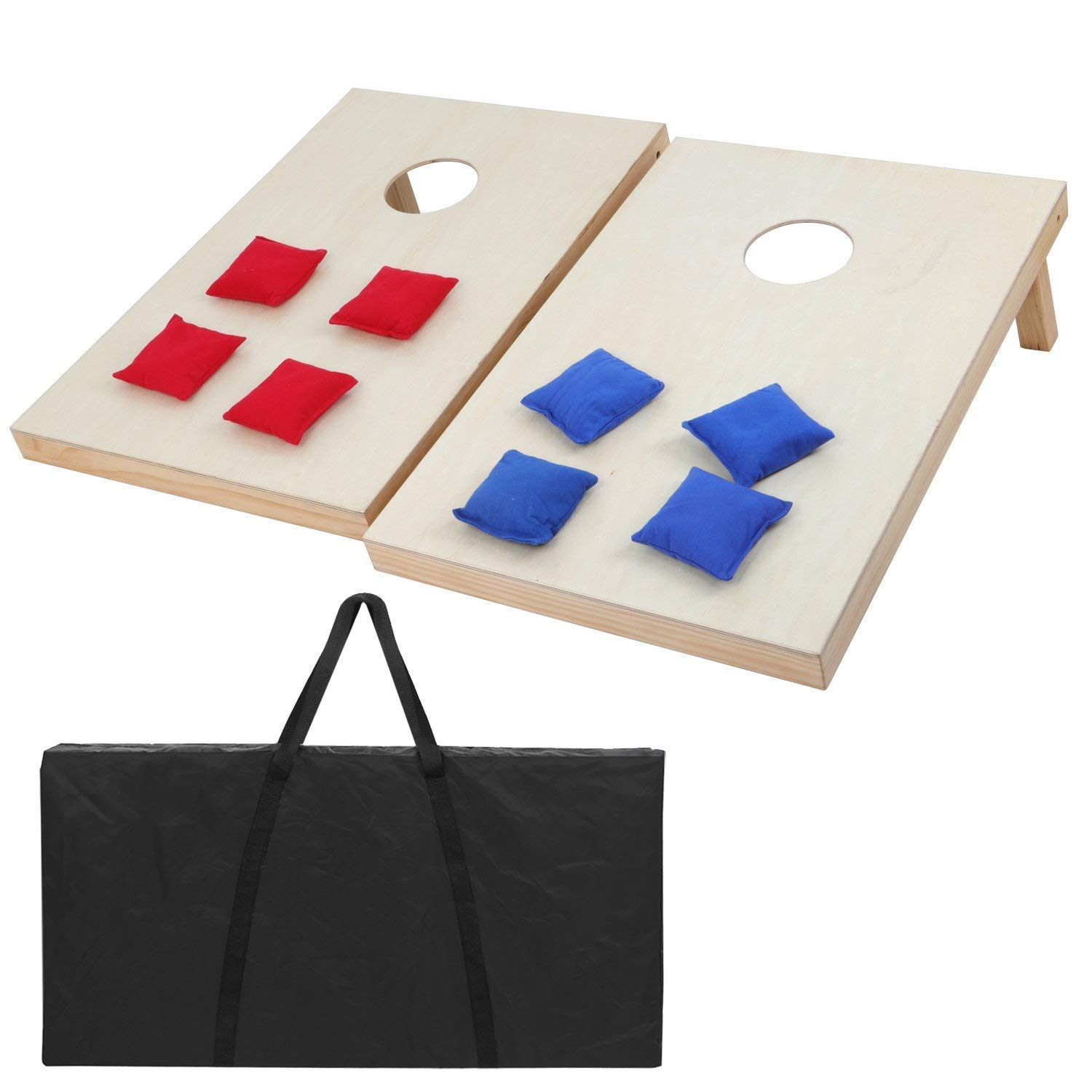 F2C Portable Foldable Aluminum Framed Bean Bag CornHole Toss Game Set Boards with 8 Bean Bags and Carrying Case Classic Red& Blue to Choose