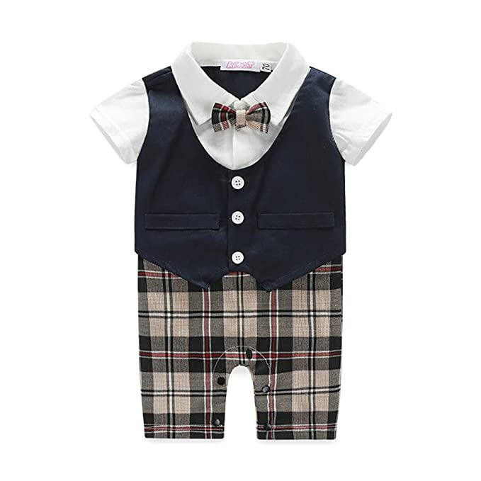 8efdd616ed59 Amazon.com  Rompers and Jumpsuits for Baby 1pc Gentleman Suit with Bowtie  Fake Vest Short Sleeve Outfit  Clothing