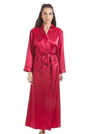 5fa1a5e0a54b29 Camille Luxuriöser Damen Morgenmantel - lang - aus Satin - Rot 38/40