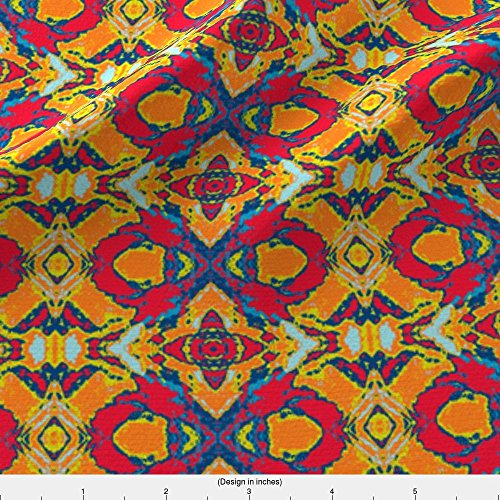 French Provencal Fabric French Provencal Print In Yellow, Red And Orange by Susaninparis Printed on Satin Fabric by the Yard by Spoonflower (Provencal Print)