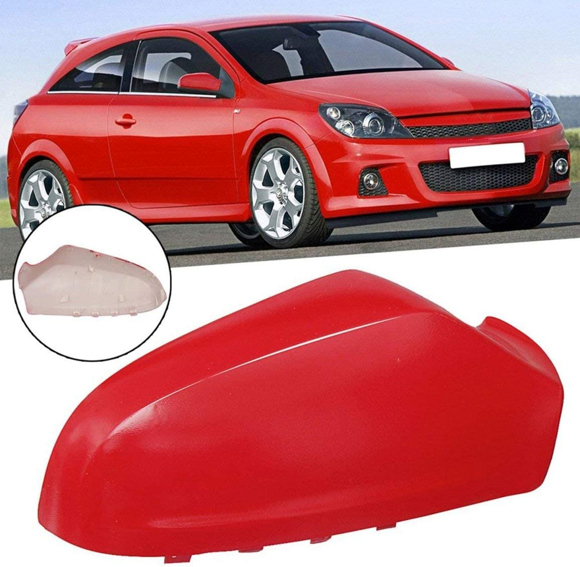Color:red For Vauxhall Astra H N//S 63U Power Passenger Painted Door Wing Mirror Cover GBH