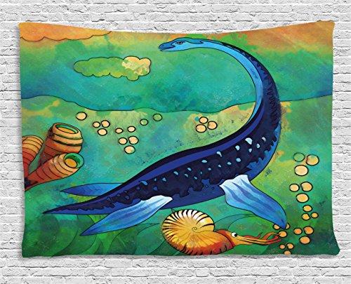 (Ambesonne Dinosaur Tapestry, Ancient Wild Sea Creature Plesiosaurus in Its Underwater Habitat, Wall Hanging for Bedroom Living Room Dorm, 80 W X 60 L Inches, Jade Green Navy Blue Orange )