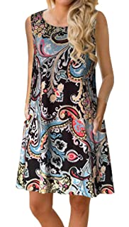 a2fb9ba48dc9 ETCYY Women s Summer Casual Sleeveless Floral Printed Swing Dress Sundress  with Pockets