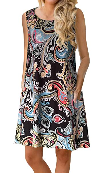 58ab3478fd21b ETCYY Women's Summer Casual Sleeveless Floral Printed Swing Dress Sundress  with Pockets