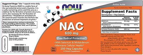 NOW NAC 600 mg,250 Veg Capsules
