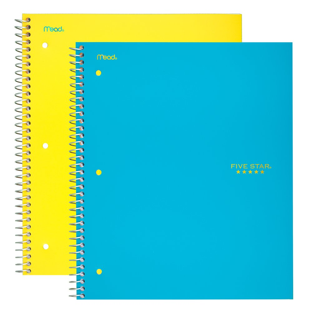 Five Star Spiral Notebooks, 5 Subject, College Ruled Paper, 200 Sheets, 11'' x 8-1/2, Teal, Yellow, 2 Pack (73509)