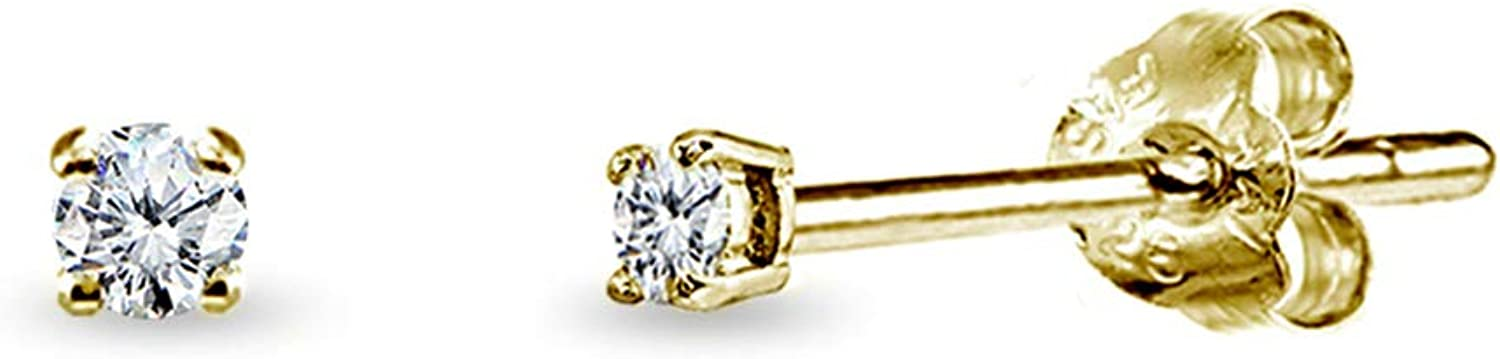 Yellow Gold Flashed Sterling Silver Cubic Zirconia 2mm Round Stud Earrings for Men Women Teens