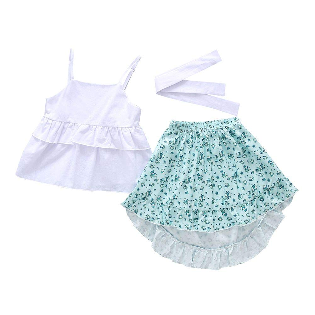 Little Girls Spaghetti Strap Shirts Tank Tops Floral Print Irregular Hem Skirts