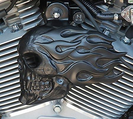 Chrome Dome Flaming Skull Horn Cover Aluminium