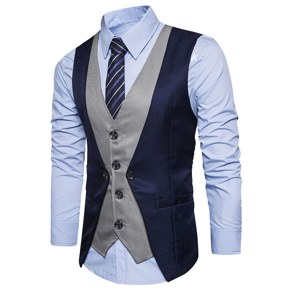 MODOQO Mens Business Suit Vest Casual Formal Tweed Check Double Breasted Waistcoat