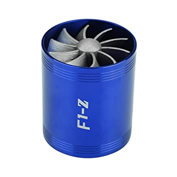 Qiilu Aluminum Car Air Intake Turbonator Dual Fan Turbine Super Charger Gas Fuel Saver Turbo(