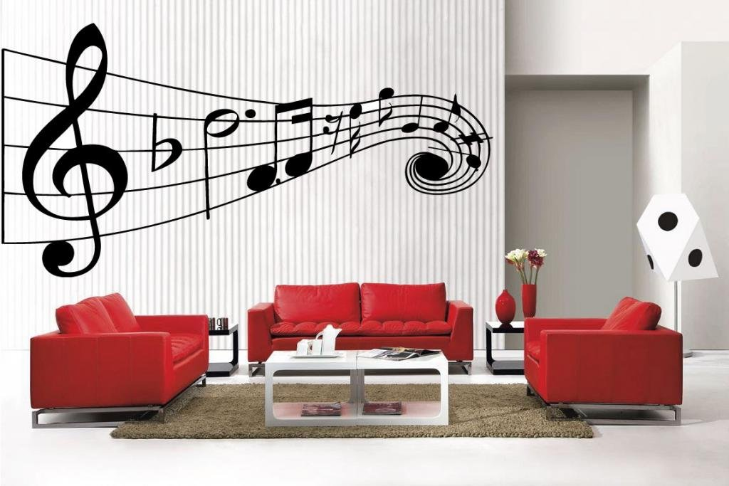 Newclew MUSIC Musical NOTES large removable Vinyl Wall Quote Decal ...