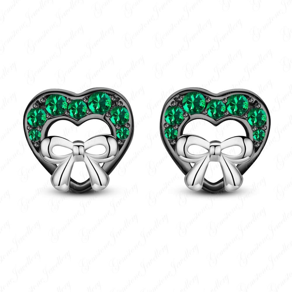 Gemstone Jewellery Round Cut Emerald Heart Minnie Mouse Stud Earrings In 14k Two Tone Gold Finishing