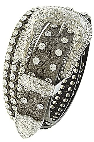 TRENDY FASHION JEWELRY FLORAL ETCHED CRYSTAL CUTOUT GENUINE LEATHER BELT BY FASHION DESTINATION | - Floral Etched Crystal