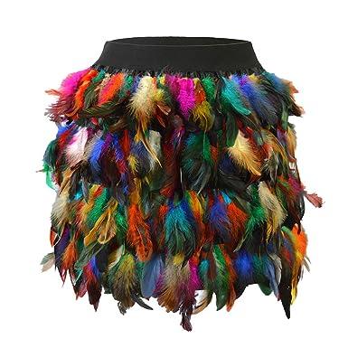 97a853f35 ANSUG Mujeres Falda de Plumas de Colores Mini Cintura Elástica A ...