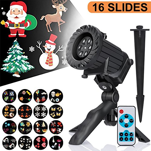 Christmas Projector Lights - CrazyLynX LED Projector Light with 16 Slides Landscape Projector, IP65 Waterproof Remote Control Timer Projector Lighting for Holiday/Christmas/Deco for Outdoor/Indoor