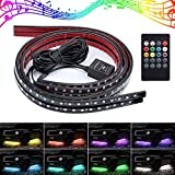 Justech 4PCS 8 Colors Car LED Neon Undercar Glow light 12V RGB Underglow Atmosphere Decorative Bar Lights Kit Strip with Sound Active and Wireless Remote Control for Car Bumper/ Inlet Grid/ Car Interior/ Car Rear/ Car Bottom
