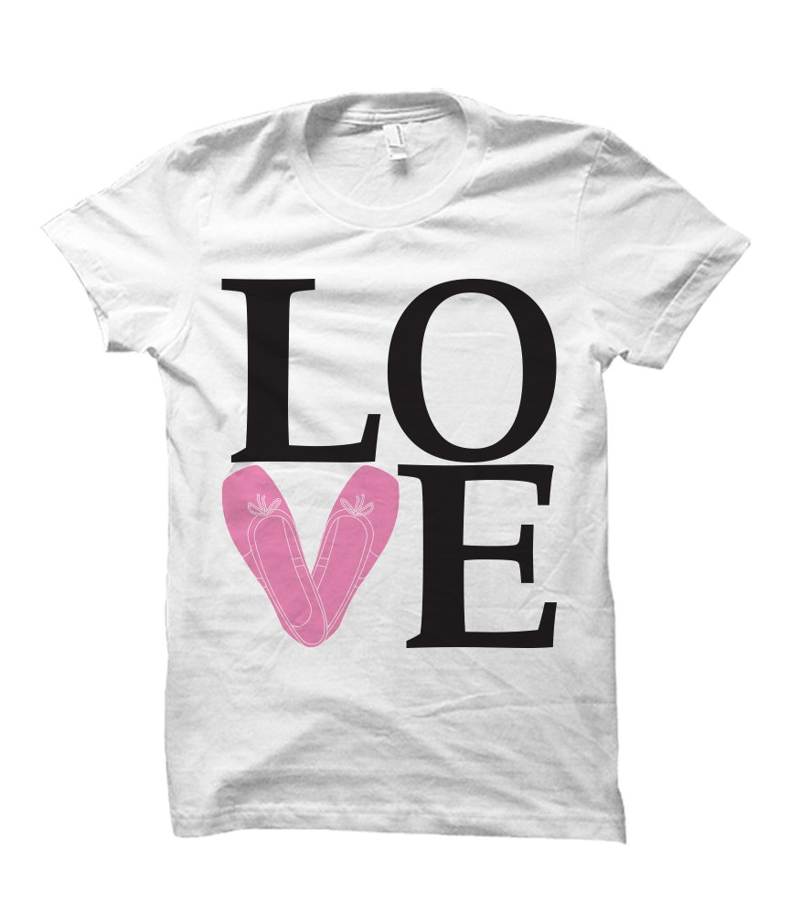 Love to Dance Ballet Shoes Youth T-Shirt (X-Small, White)