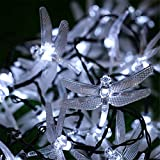 KingTo Dragonfly Solar String Lights,20 LED Garden Lights for Outdoor, Home, Lawn, Patio, Party and Holiday Decorations(Dragonfly,White)
