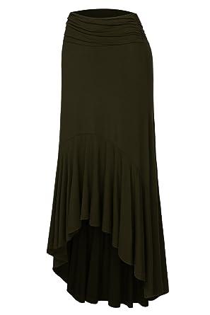 meilleur site web e1cb8 d6b2a DJT FASHION Femme Skirt Midi Uni Asymetrique Mi Longue ...