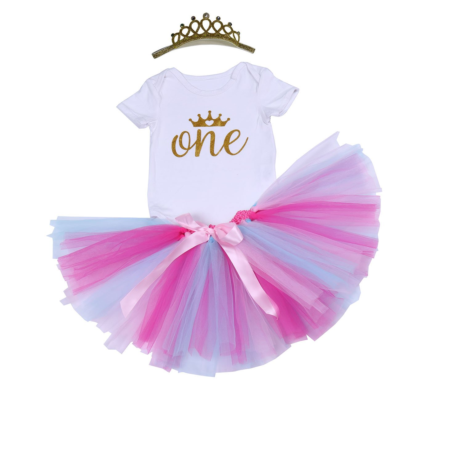 BabyPreg Baby Girls'Rainbow Skirt 3PCs 1st Birthday Tutu Dress Onesie Crown Set