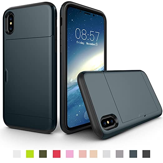 low priced 73bfb 621ff Slim Wallet Phone Case for Iphone XR/XS MAX/XS Soft TPU Rubber Cover with  Hybrid Back Card Holder