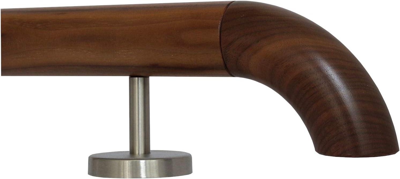L/änge 30-500 cm aus einem St/ück//zum Beispiel L/änge 210 cm mit 3 gerade Halter Nussbaum Gel/änder Handlauf Treppe Holz Griff gerade Edelstahlhalter Enden =Radius gefr/äst