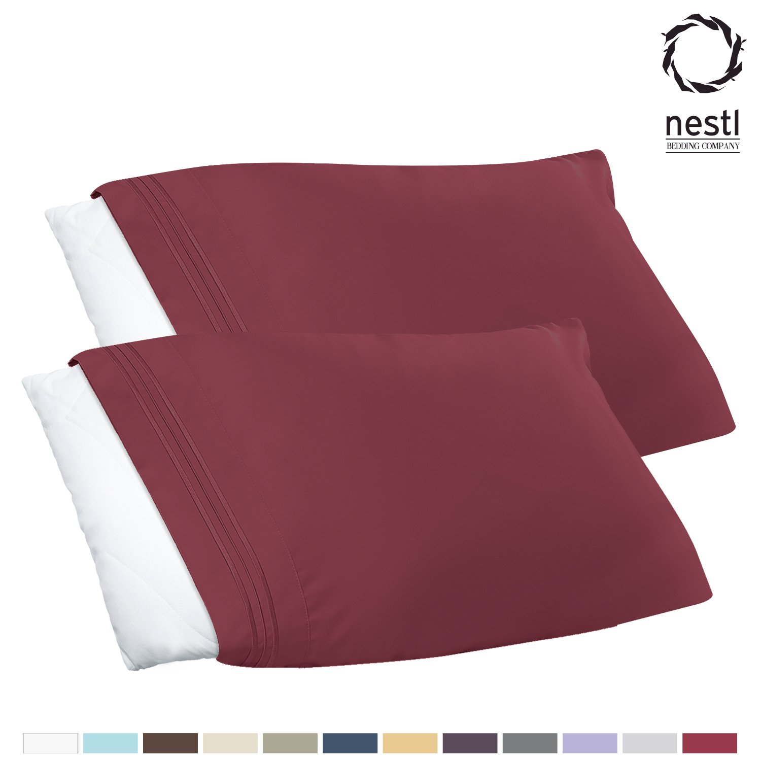 Queen Standard Burgundy Red, Set of 2 Pieces Pillowcase