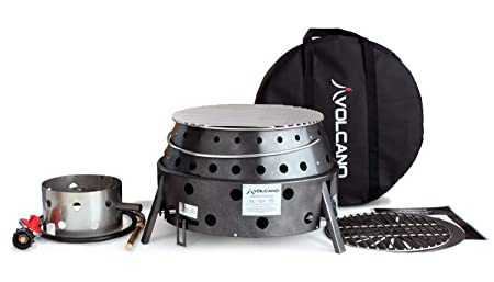 Volcano Grills 3 Grill Stove Bundle Includes Lid and Cookbook, Grey