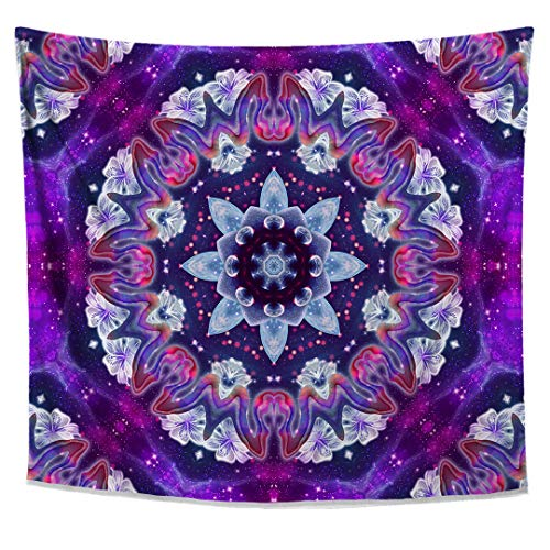Sonic Blossom Tapestry- Mandala Wall Hanging- Flower Wall Decor- Psychedelic Art Tapestry by Lucid Eye Studios- Premium Large Tapestry 51x58 ()