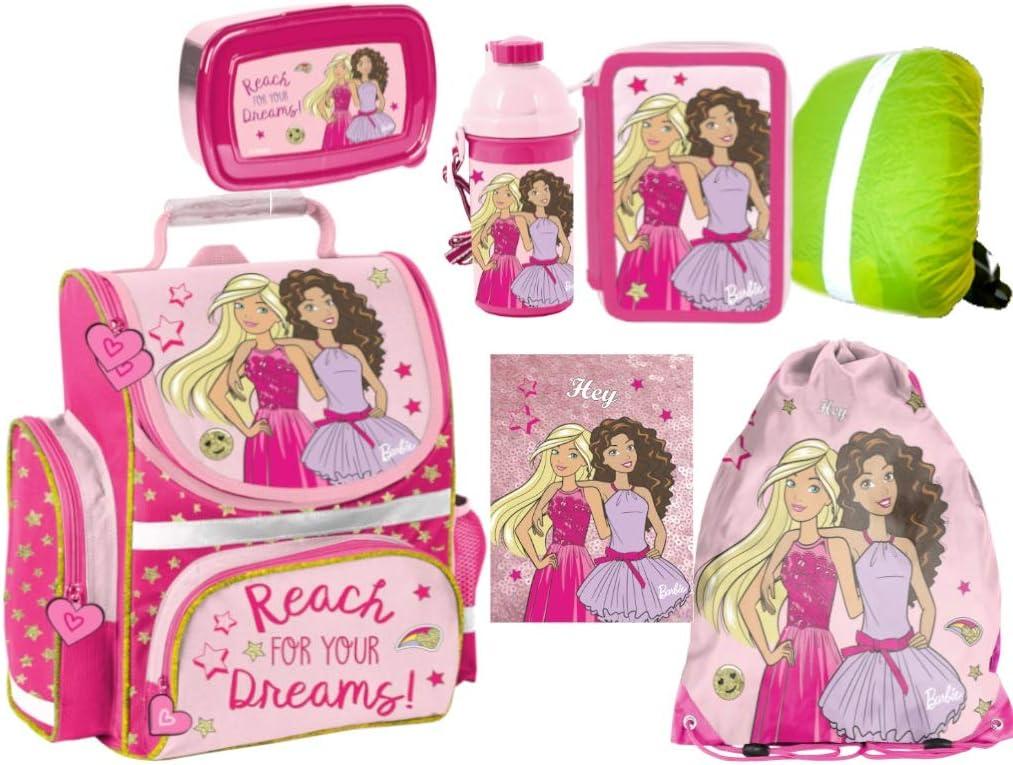 Barbie Schulranzen Set ergonomischer Ranzen Tornister XXL Federmappe Turnbeutel Brotdose Trinkflasche Regenh/ülle M/ädchen 7-teilig Barbie Lizenz