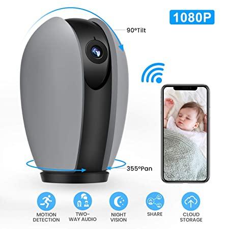 MECO WiFi IP Camera 1080P Nanny Camera Home Security Surveillance Camera Wireless Indoor CCTV with Pan Tilt Zoom, Night Vision, Sound Motion Detection, Baby Pet Elder Monitor – Cloud Service Available