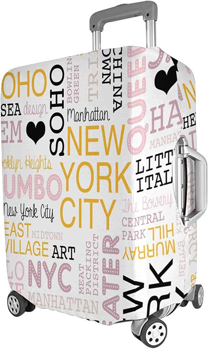 INTERESTPRINT Travel Luggage Cover Suitcase Protector Fit 18-28 Inch New York City
