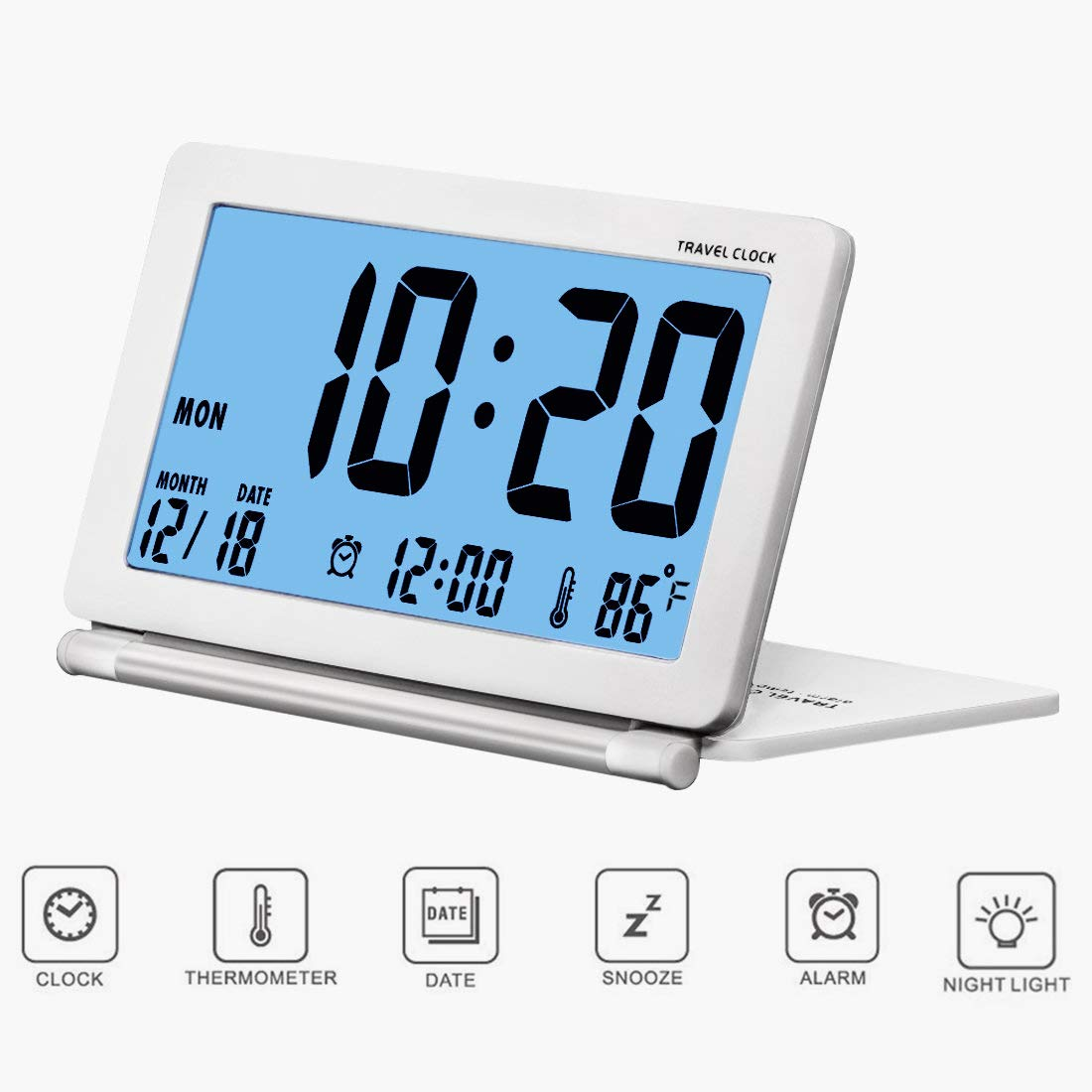 SESTP Digital Travel Clock with Blue Backlight Battery Operated Calendar Temperature Large Number Display Ideal for Kids and Elder (White) by SESTP
