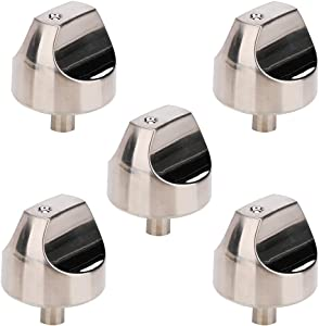 5 Pack WB03X32194 WB03T10329 Cooktop Range Burner Control Knobs Stainless Steel for GE CGP350SET1SS CGP350SET3SS CGP650SET3SS Replace WB03X25889 4920893 AP5985157 AP6837585 PS12709871 EAP12709871