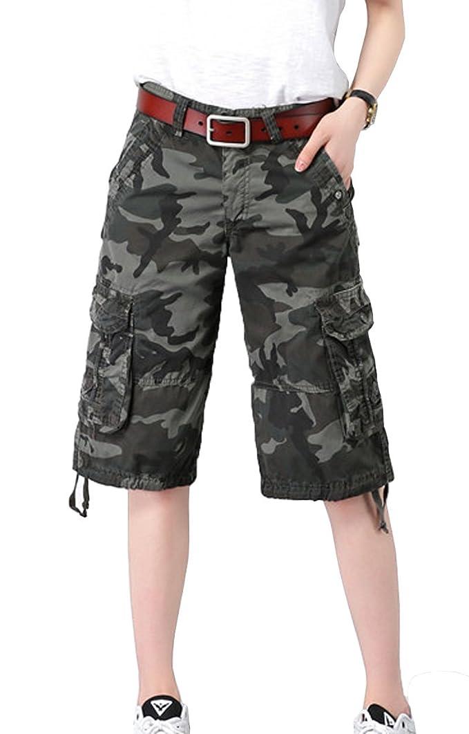 SELX Men Loose Solid Color Casual Big /& Tall Multi-Pockets Cargo Short