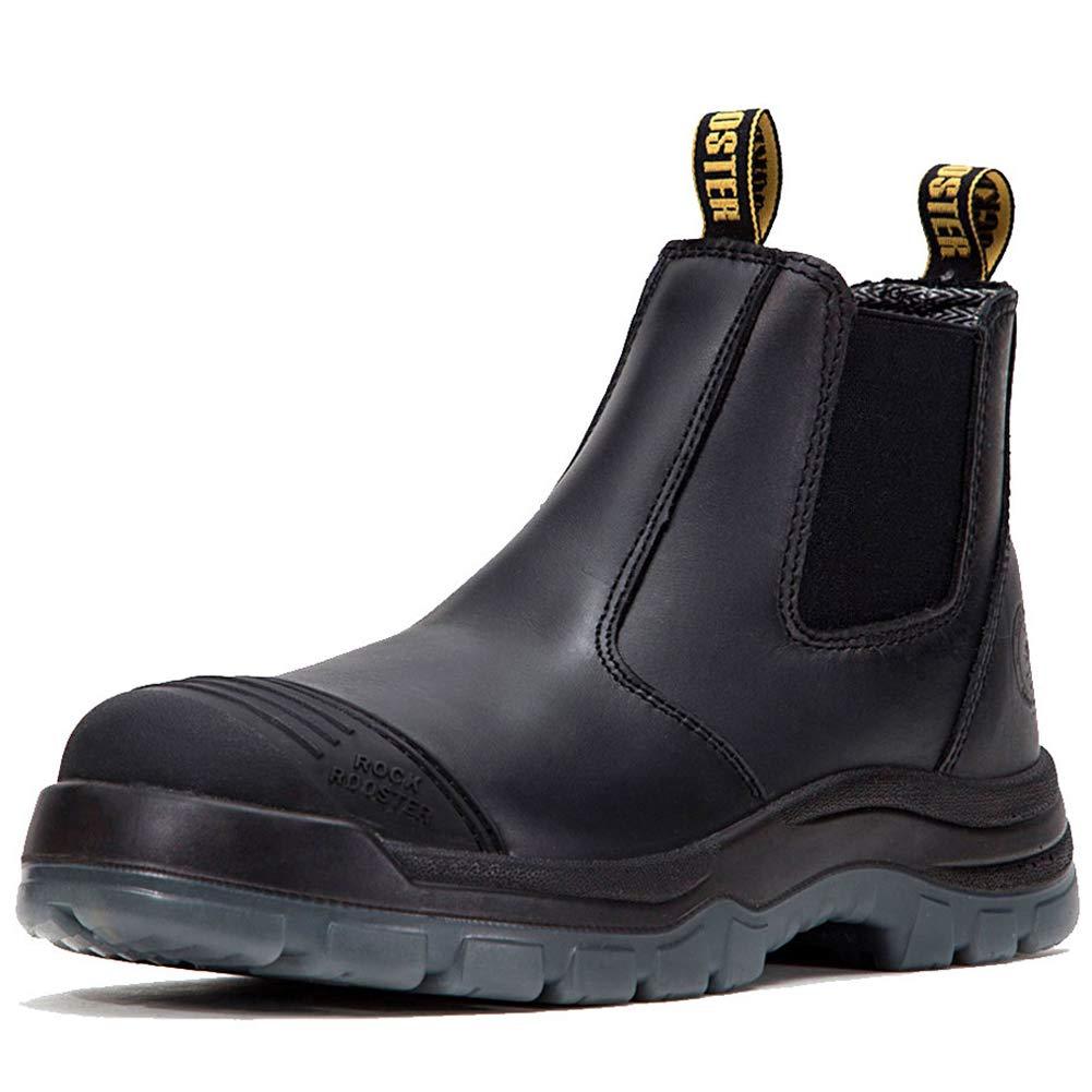 ROCKROOSTER Work Boots for Men, Composite/Soft/Steel Toe Waterproof Safety Working Shoes(AK227-safe, 11-BLK)