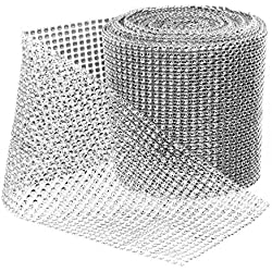 Royal Imports Silver Rhinestone Ribbon Diamond Bling Sparkle Wrap Bulk DIY Roll Event Decorations, Wedding Cake, Bridal/Baby Shower, Birthdays, Arts & Crafts Vase & Party Decorations - 30 Ft - 1 Roll