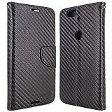 Google Nexus 6P Wallet Case, CoverON® [CarryAll Series] Flip Folio Card Slot Pouch Cover Screen Protector + Strap Case For Google Nexus 6P - Black Carbon Fiber Design