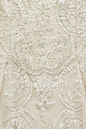 Le Style 8cwg635 Ivoire / Champagne Robe De Tulle Mariage Dentelle Taille, Plus Cassini De Mariée De David Oleg