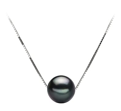 b6af09eece9e6 Kristine Black 8-9mm AA Quality Tahitian 14K White Gold Cultured Pearl  Pendant For Women