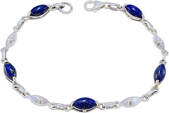 Bracelet en argent sterling 925 lapis-lazuli pierre bleue