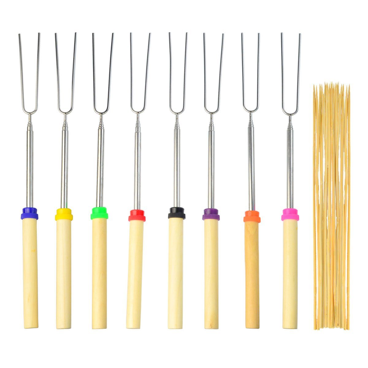Lee-buty 12 Pcs Marshmallow Roasting Sticks Telescoping Forks Extending Roaster and 20 Pcs Bamboo Skewers with Color-Coded Wood Handles and Carrying Pouch 32 Inch for BBQ,Campfire,Bonfire Kids,Camping