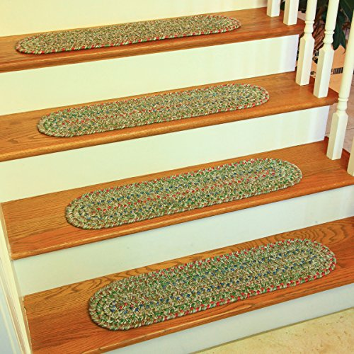 Moss Stair Tread - RRI Home Decor Sonya Reversible Braided Stair Treads, Moss Multicolor, Set of 4