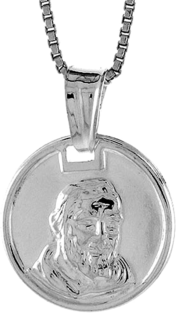 14 mm Sterling Silver Madonna /& Child Medal Hollow Italy 9//16 inch Tall