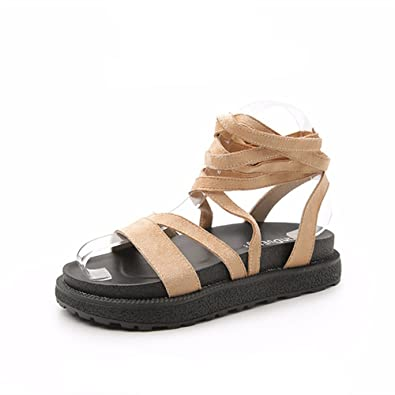 14ef0853b00b Women Sandals Summer Wedge Sandals Open Toe Platform Sandalias Ladies  Gladiator Sandals Women(Beige 35