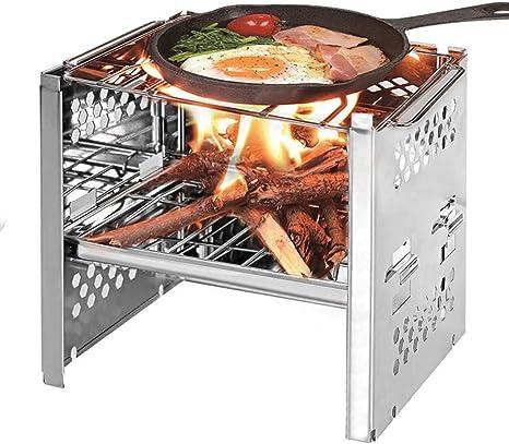 QYWSJ Parrilla de La Barbacoa del Carbón de Leña, Parrilla de Barbacoa Plegable de Acero Inoxidable Compacta, Portátil para Cocinar Al Aire ...