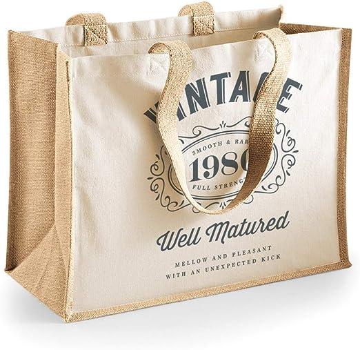 Bolsa de lona de algodón de 40 cumpleaños - Para mujer - Como regalo, recuerdo o para hacer la compra - Natural - 33 x 42 x 19 cm: Amazon.es: Hogar