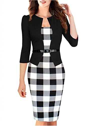 Viwenn Women Elegant Colorblock Long Sleeve V Neck Business Party Dress